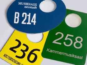Kunststoffschilder Garderobenmarken